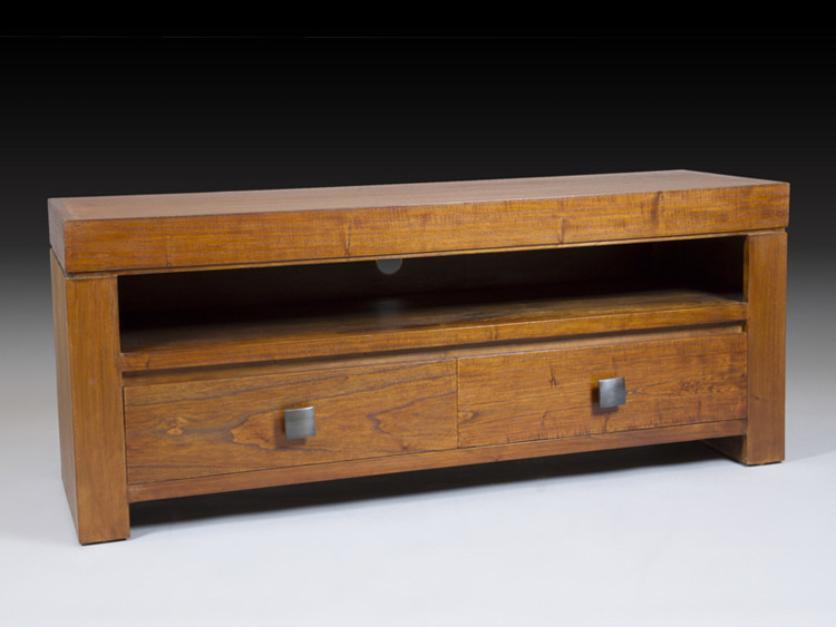 Mesa TV madera estilo colonial - Mesa TV madera estilo Colonial, 2 cajones.