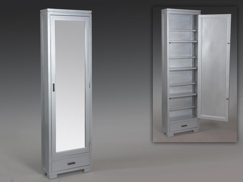 Zapatero con puerta de espejo cuerpo completo for Zapatero color madera