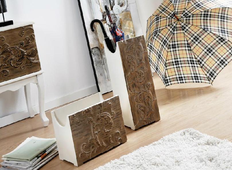 Paragueros y revisteros madera tallada - Paraguero y revisteros madera tallada