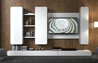 Salón moderno blanco bordes curvos - Salón moderno lacado