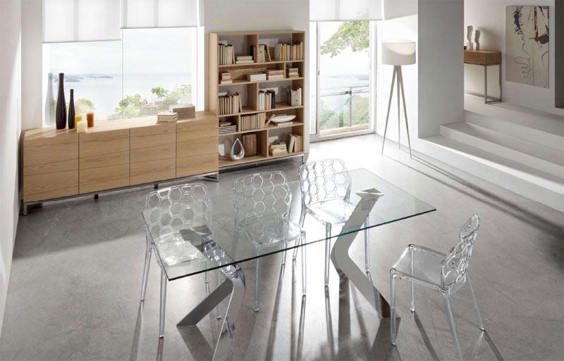 Mesa de diseño de cristal patas metalicas