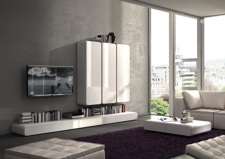 Salon modular moderno blanco lacado bordes curvos - Salon moderno blanco ...