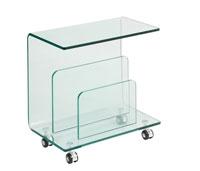 Mesa baja ALDRIN Cristal - Mesa ALDRIN-TR, baja, ruedas, cristal, 50x29 cms
