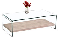 Mesa baja BEATRIZ cristal curvado - Mesa BEATRIZ, baja, rectangular, cristal curvado, 110x55 cms
