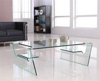 Mesa baja BERING 110 cristal curvado - Mesa BERING-110, cristal curvado, 110x65 cms
