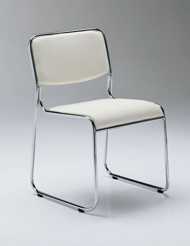 Silla apilable cromada - Silla apilable, cromada, asiento y respaldo de similpiel.