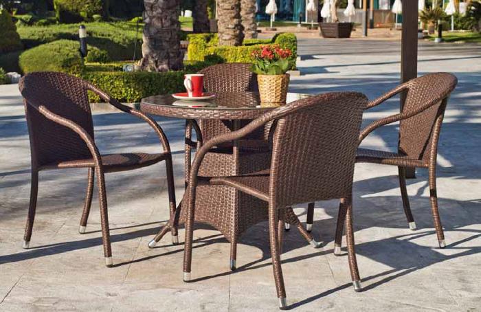 mesa redonda de jardn modelo marina y sillones mesa de ratan sinttico redonda de