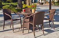 Mesa redonda de jardín modelo Marina y sillones - Mesa de ratan sintético redonda de 90 cm  y 4 sillones apilables Marina