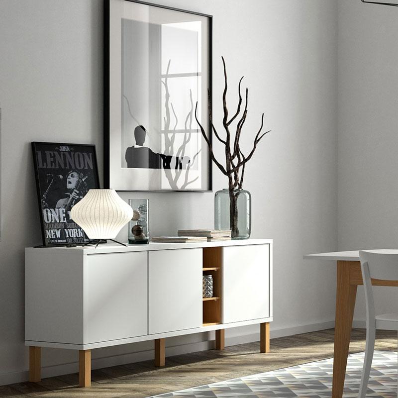 Aparador moderno blanco y madera for Aparadores con espejo