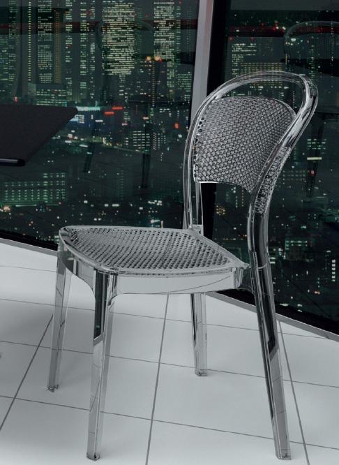 Silla Visual transparente blanco o negro - Silla apilable moderna para interior y exterior