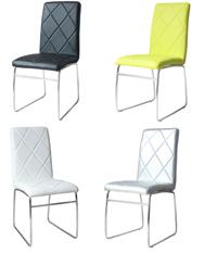 Moderna silla en PU y patas de metal