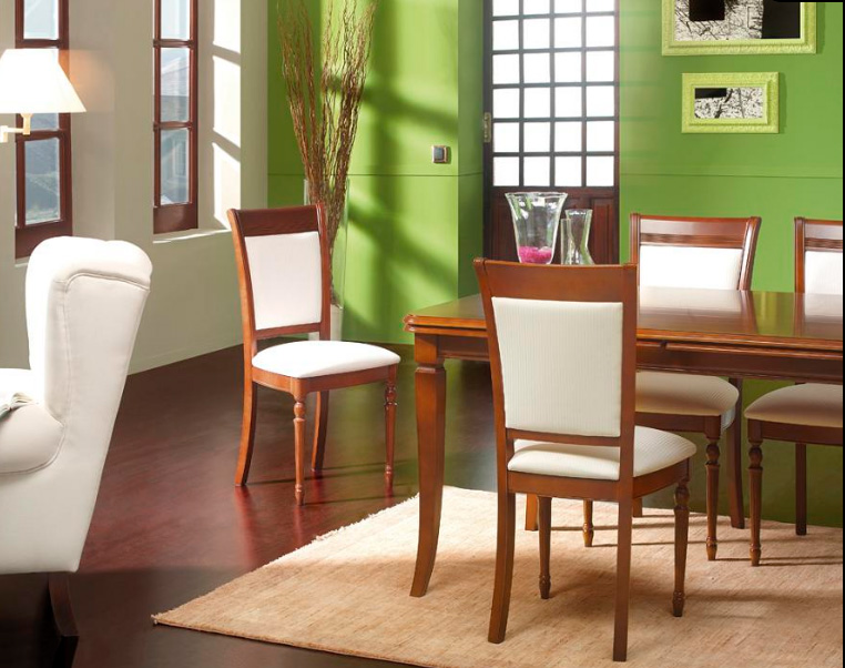 Silla patas cl sica for Telas para tapizar sillas comedor