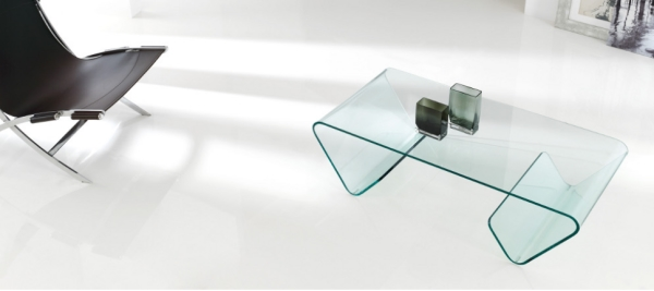 Mesa de centro de cristal moderna - Mesa baja de salon de cristal con revistero a ambos lados
