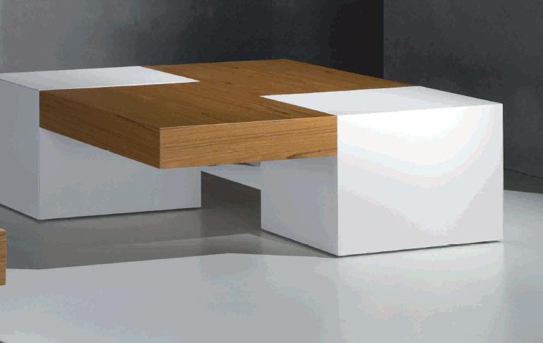 Mesa de centro ceniza o nogal, pies en laca brillo o mate DUO - Mesa de centro ceniza o nogal, pies en laca brillo o mate modelo DUO
