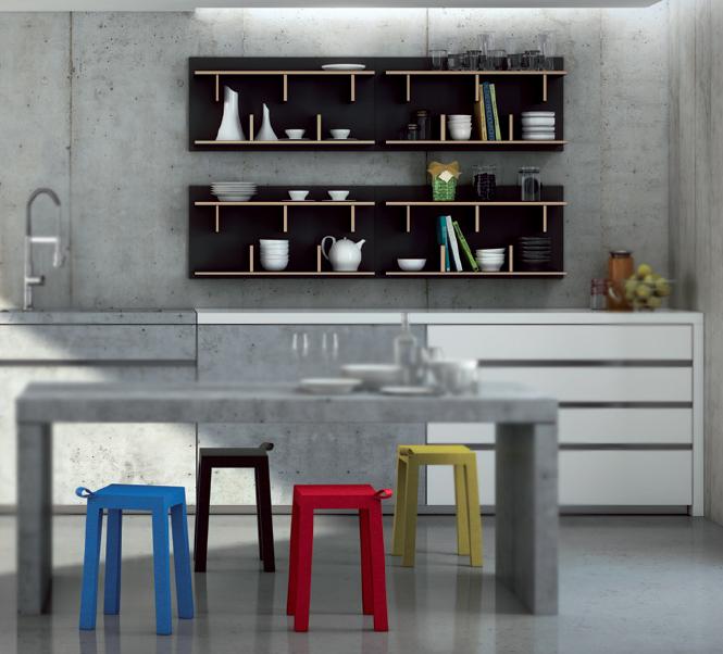 Estantería moderna de pared y taburetes de cocina - En distintas medidas y acabados