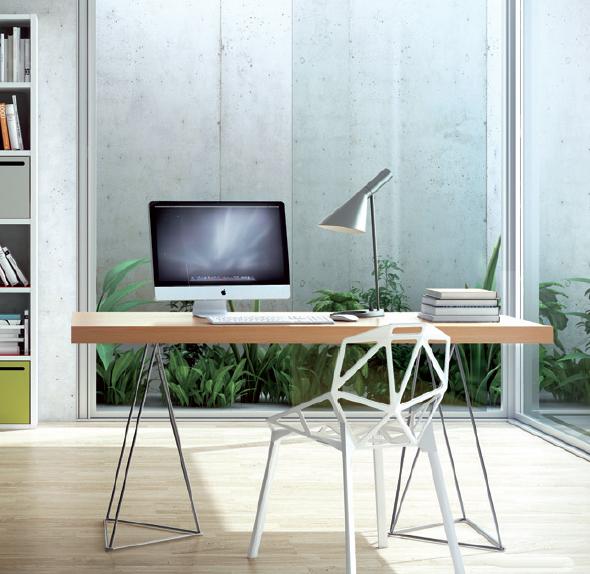 Escritorio patas cromadas forma geométrica - Disponible en 2 tamaños y distintos acabados