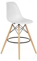 Taburete de madera con asiento plastico - Taburete de diseño, madera, carcasa abs blanca o negra.