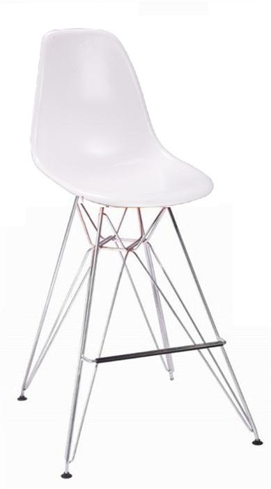 Taburete de metal con asiento plastico - Taburete de diseño, cromado, carcasa abs blanca o negra.