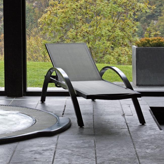 Tumbona aluminio y textileno de diseño  confort