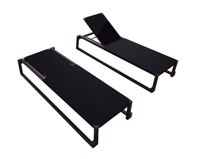 Tumbonas de diseño color negro - Tumbonas patas de patin