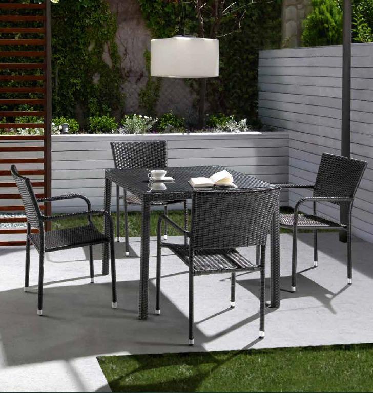 Mesa comedor o sillón Julay para exteriores  - Mesa comedor o sillón Julay para exteriores, estructura aluminio y Ratán