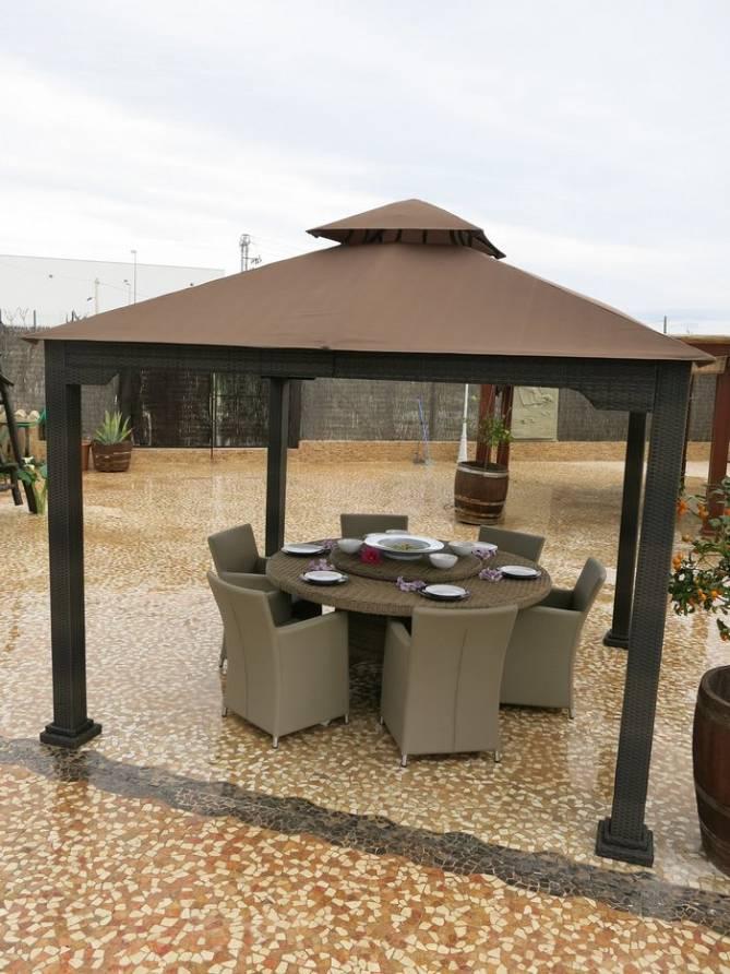 Toldo carpa fija jardin aluminio for Carpas de madera para jardin