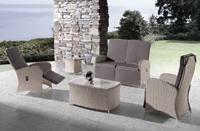 Juego de sofá para exterior Paradise - Juego de sofá  para exteriores, tejido sintético ratán con estructura de aluminio.