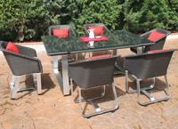 Juego de comedor para exteriores  - Juego de comedor para exteriores aluminio y rattan sintético