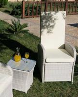 Sillones relax y mesita para exteriores - Sillones relax de rattan con mesita para jardín