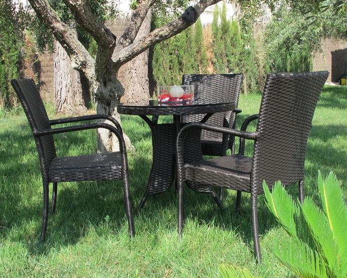 Juego mesa sillones rattan aluminio exteriores for Sillones para exteriores precios
