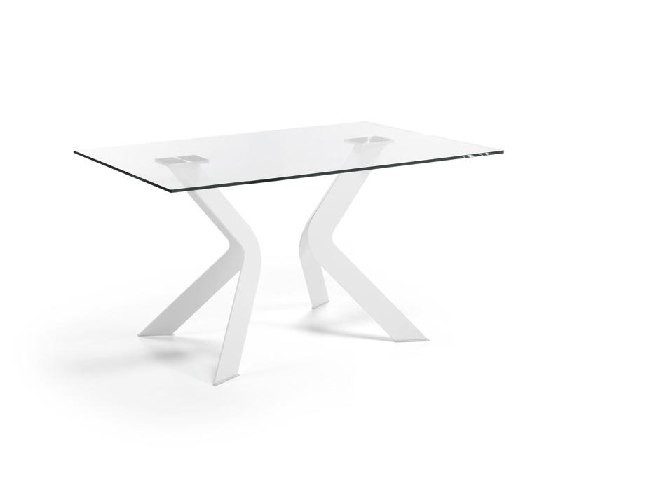 Mesa de dise o de cristal patas metalicas for Mesa diseno cristal