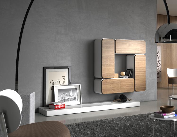 Salon moderno vitrinas de colgar lacados madera for Vitrinas para salon comedor
