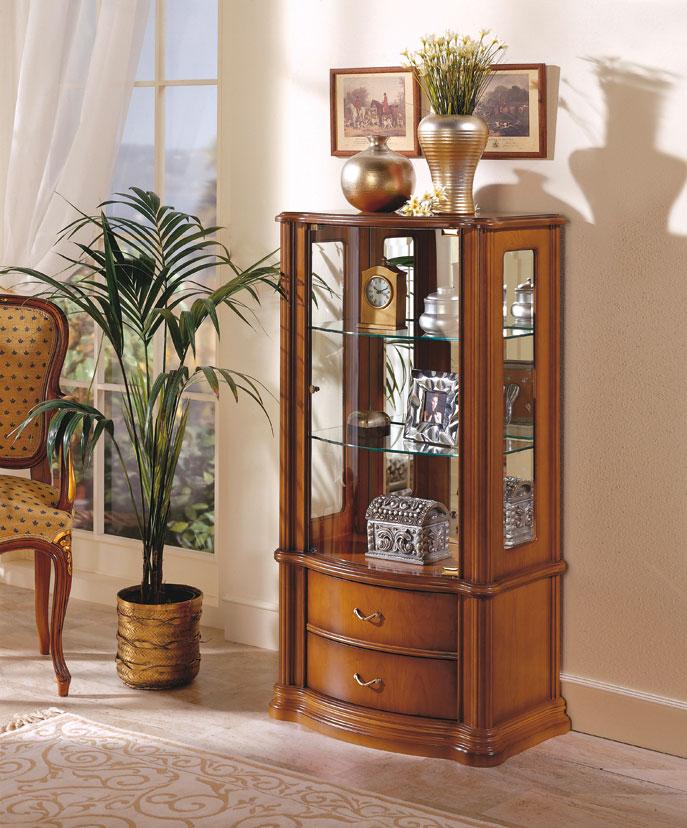 Vitrina cl sica madera cerezo chapa puerta cristal borja for Vitrinas modernas para salon
