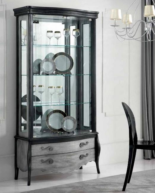 Vitrinas madera haya puertas cristal 2 metros baratas for Vitrina estilo industrial