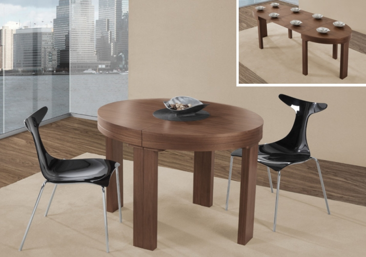 Mesa de comedor extensible madrid redonda oavalada for Mesas comedor extensibles modernas