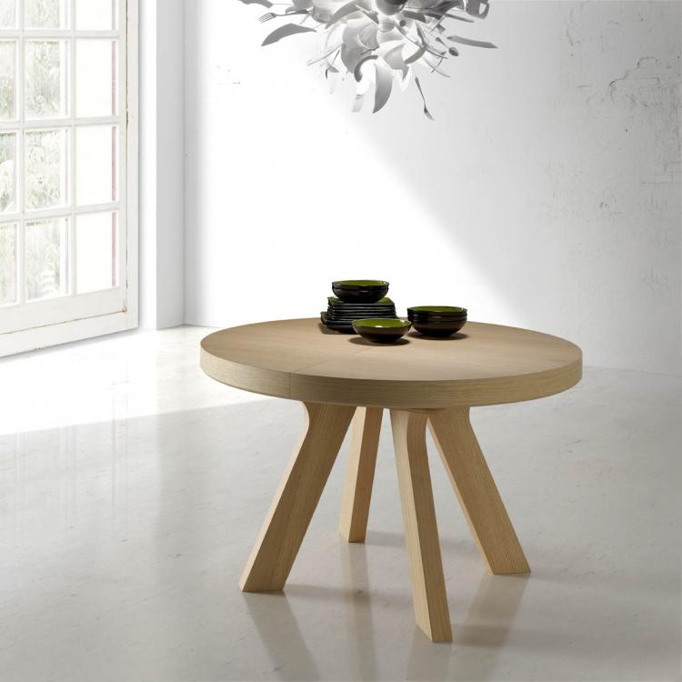 Mesa redonda extensible de madera for Mesas de madera para comedor redondas